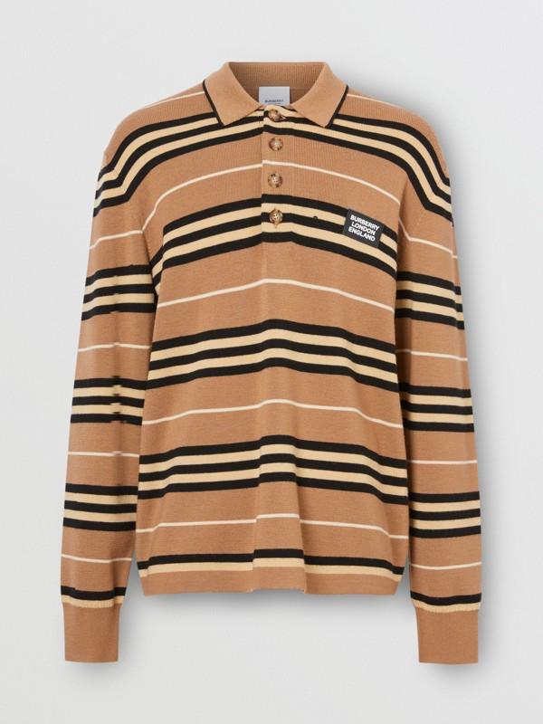 Long-sleeve Icon Stripe Merino Wool Polo Shirt in Warm Walnut - Men | Burberry United Kingdom - cell image 3