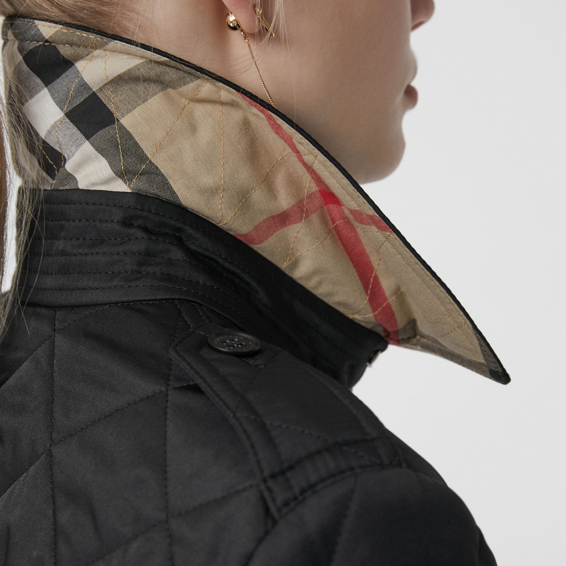 Diamond Quilted Jacket in Black - Women | Burberry United Kingdom - gallery image 1