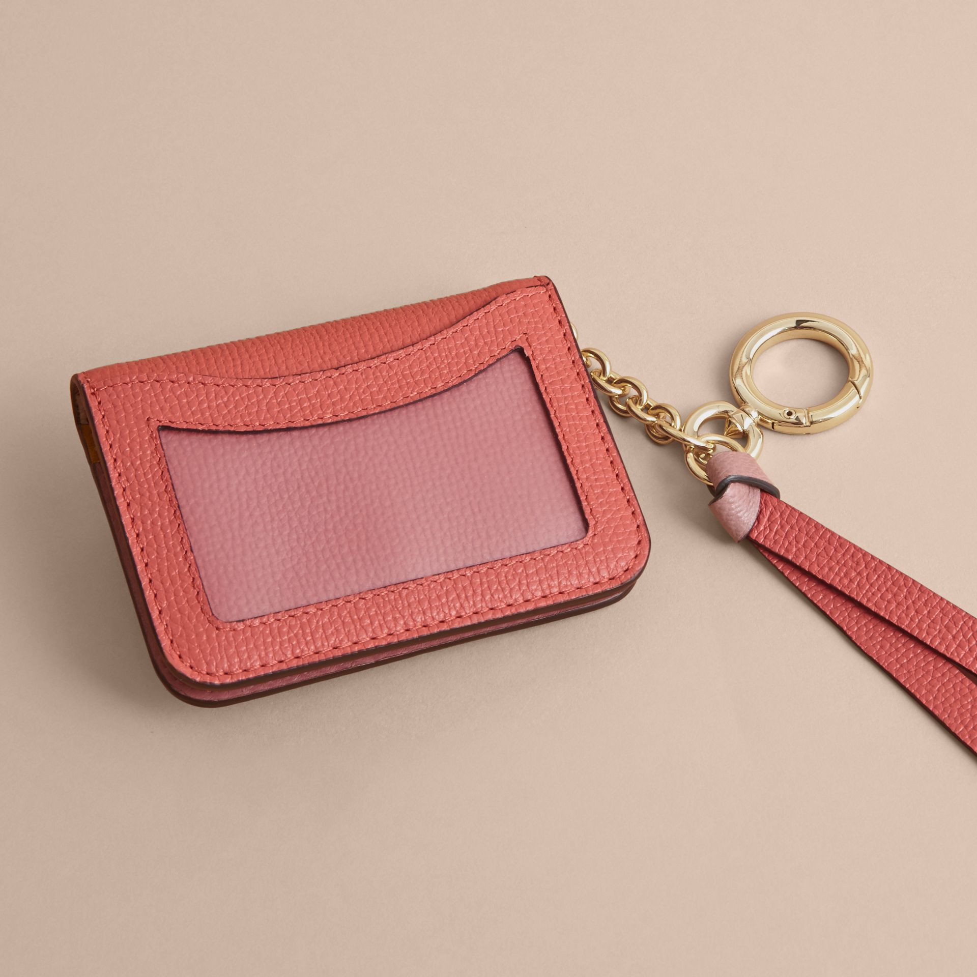 Leather and Haymarket Check ID Card Case Charm in Cinnamon Red/multi - gallery image 3