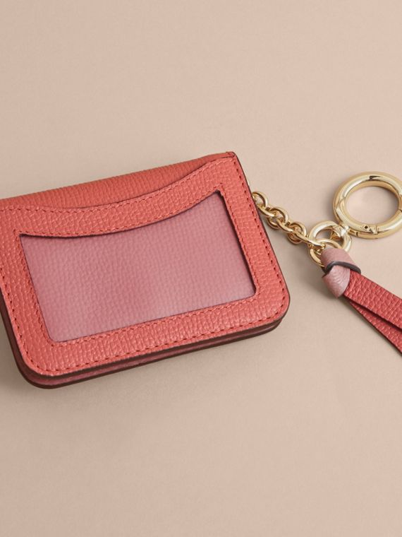 Leather and Haymarket Check ID Card Case Charm in Cinnamon Red/multi - cell image 2