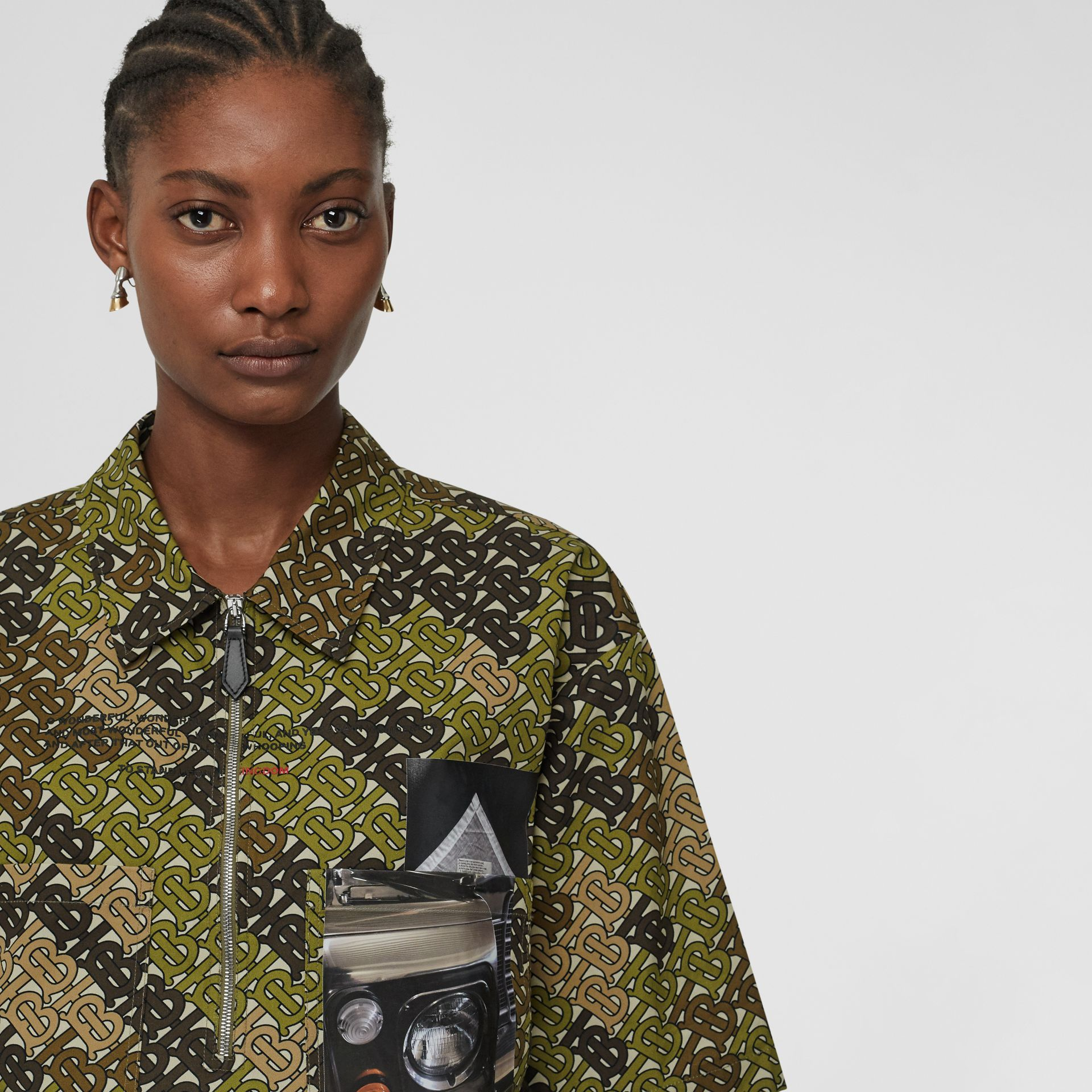 Short-sleeve Monogram Print Cotton Oversized Shirt in Khaki Green - Women | Burberry Australia - gallery image 5