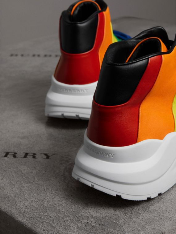 Rainbow Leather High-top Sneakers | Burberry - cell image 3