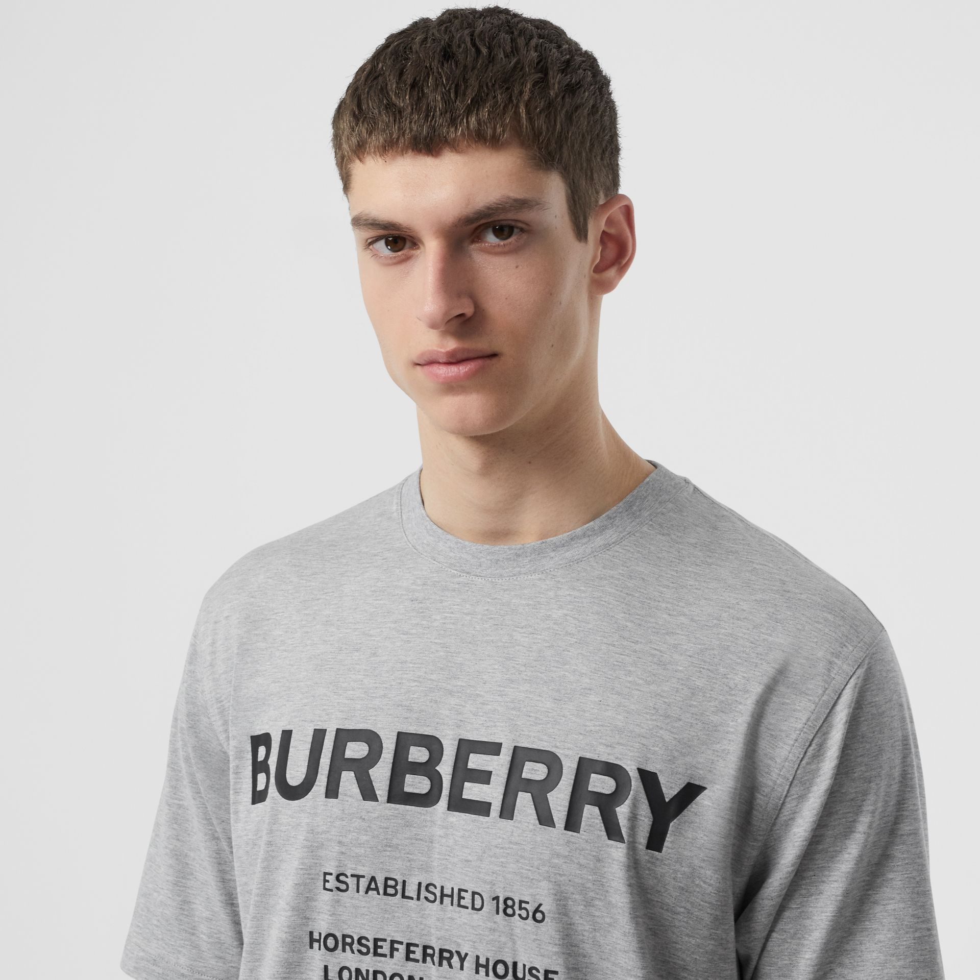 Horseferry Print Cotton T-shirt in Pale Grey Melange - Men | Burberry - gallery image 1