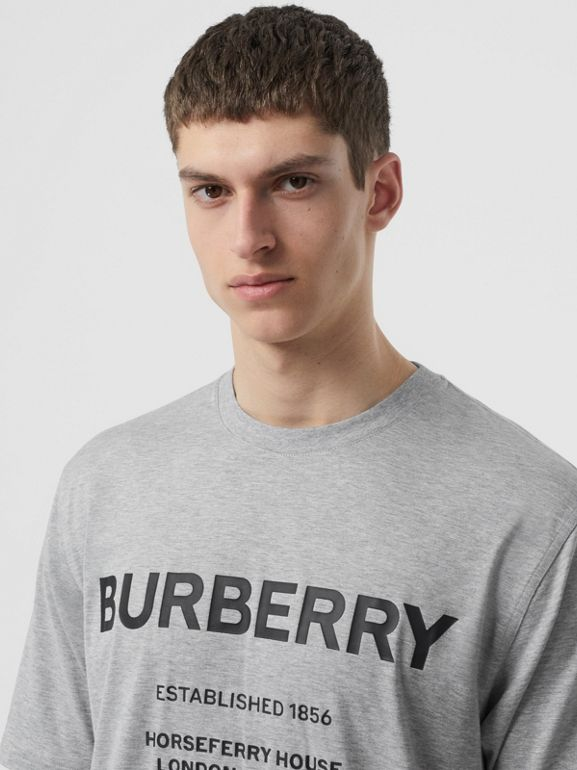 Horseferry Print Cotton T-shirt in Pale Grey Melange - Men | Burberry - cell image 1