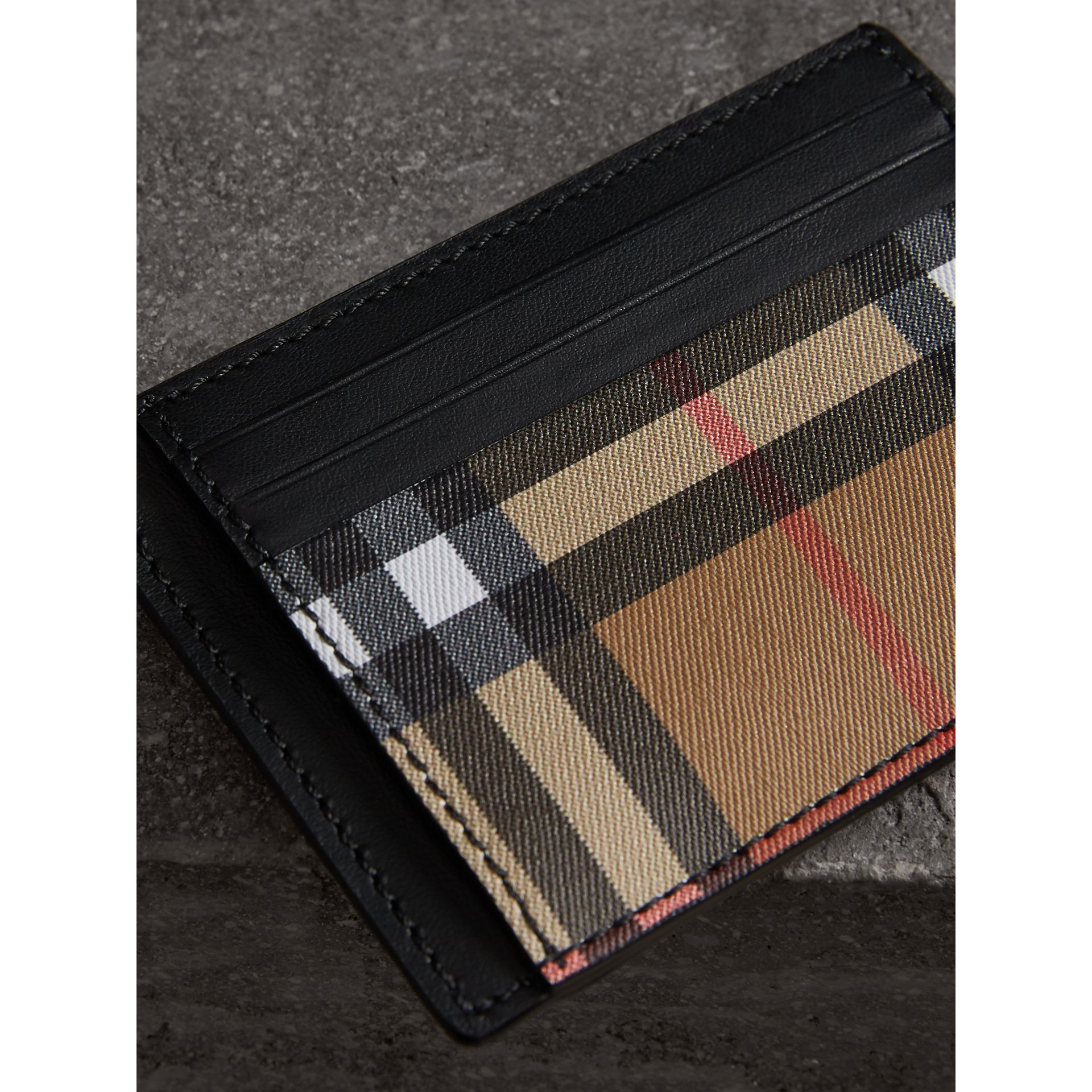 Vintage Check and Leather Money Clip Card Case in Black - Men | Burberry - gallery image 1