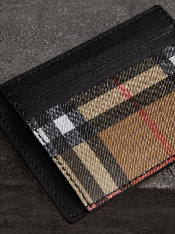 Vintage Check and Leather Money Clip Card Case in Black - Men | Burberry - cell image 1