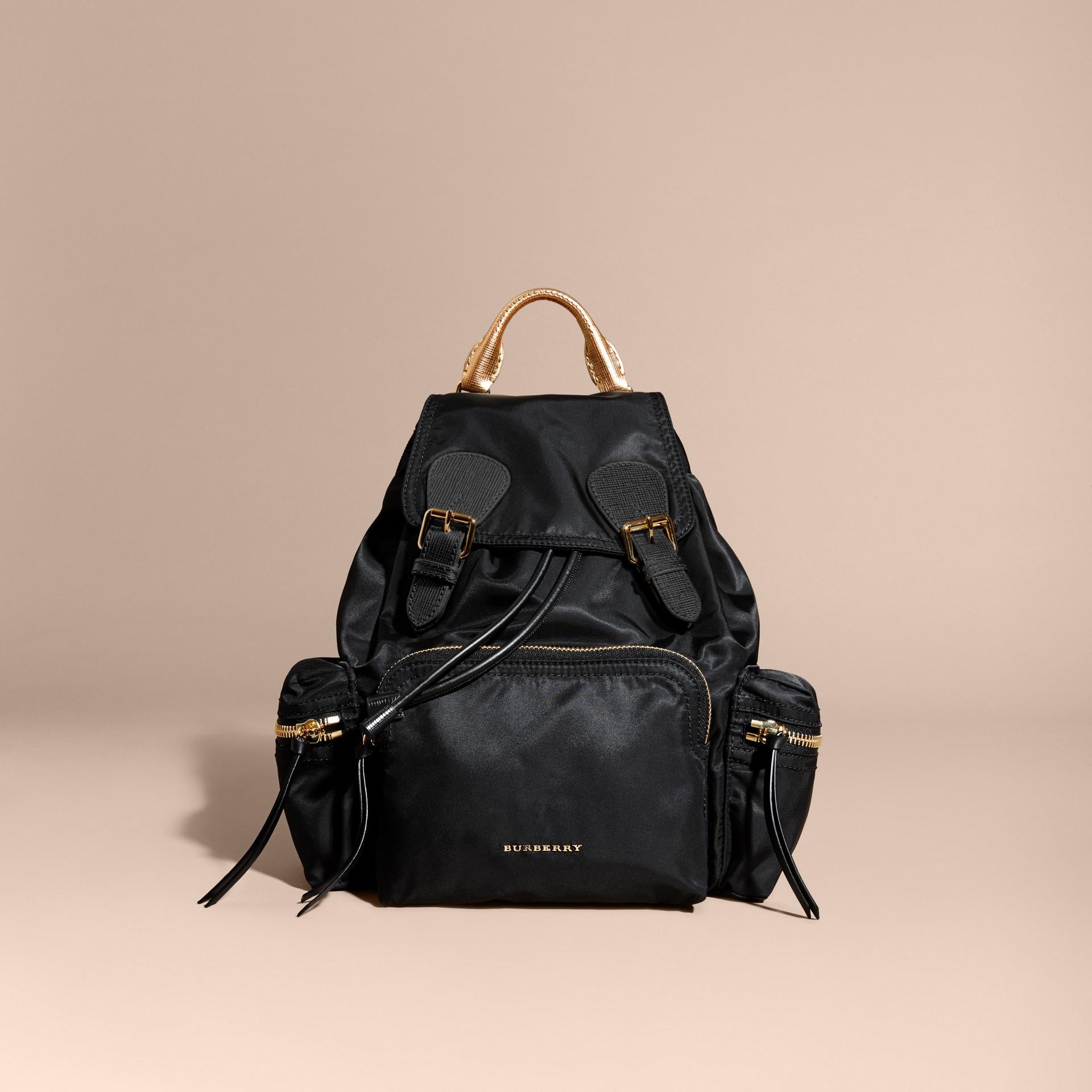 Nero/oro Zaino The Rucksack medio in nylon bicolore e pelle Nero/oro - immagine della galleria 8