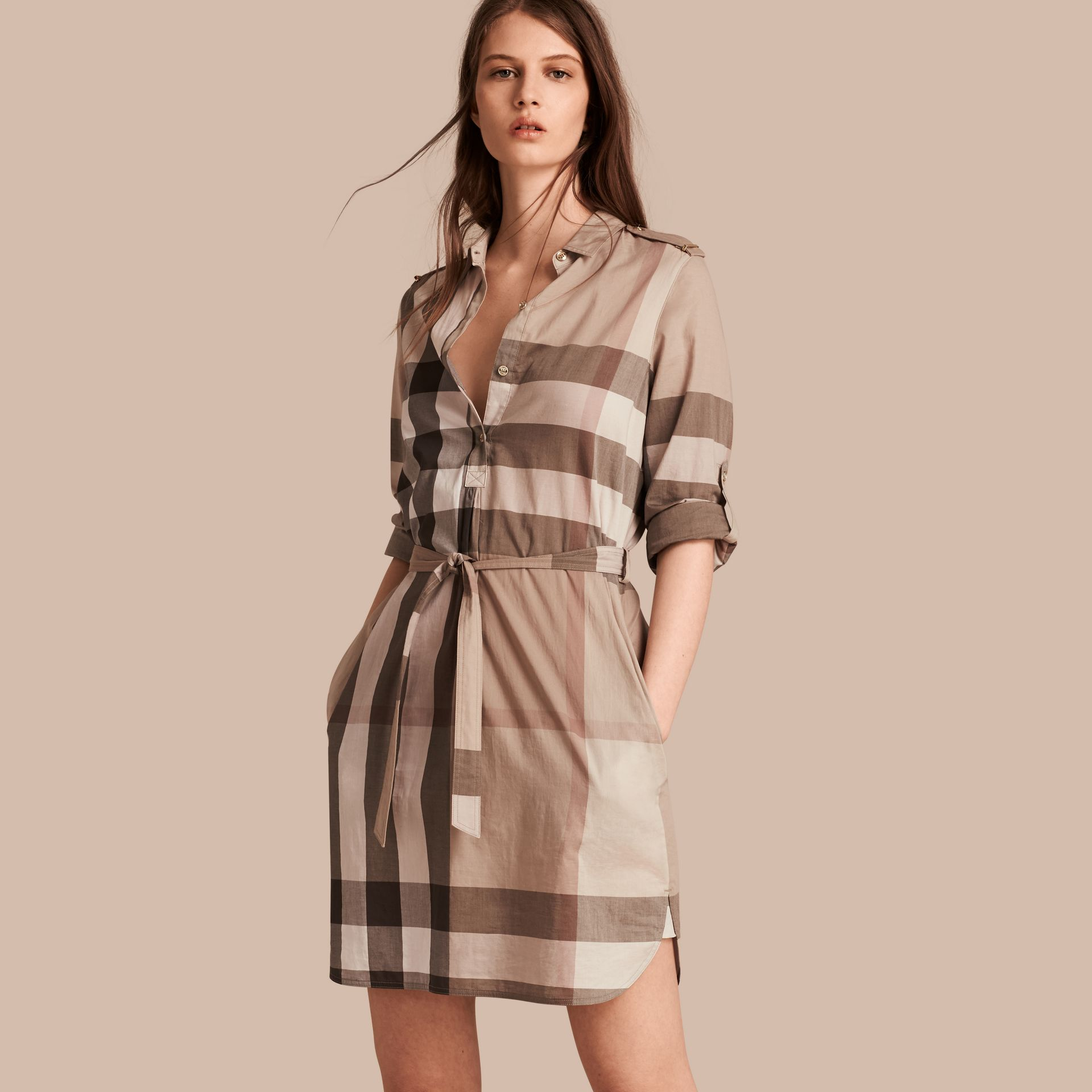 Check Cotton Shirt Dress in Pale Stone - gallery image 1