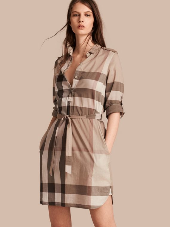 Check Cotton Shirt Dress Pale Stone