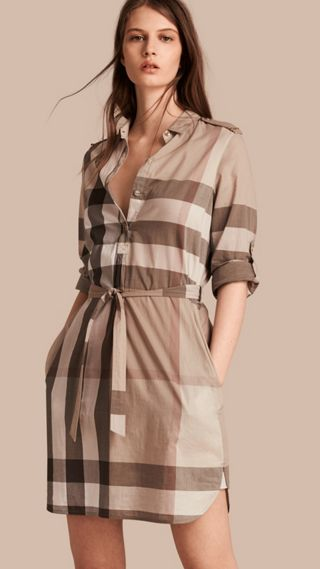 Check Cotton Shirt Dress