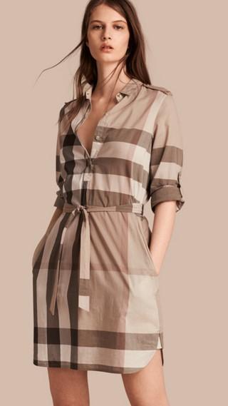 Robe chemise en coton à motif check