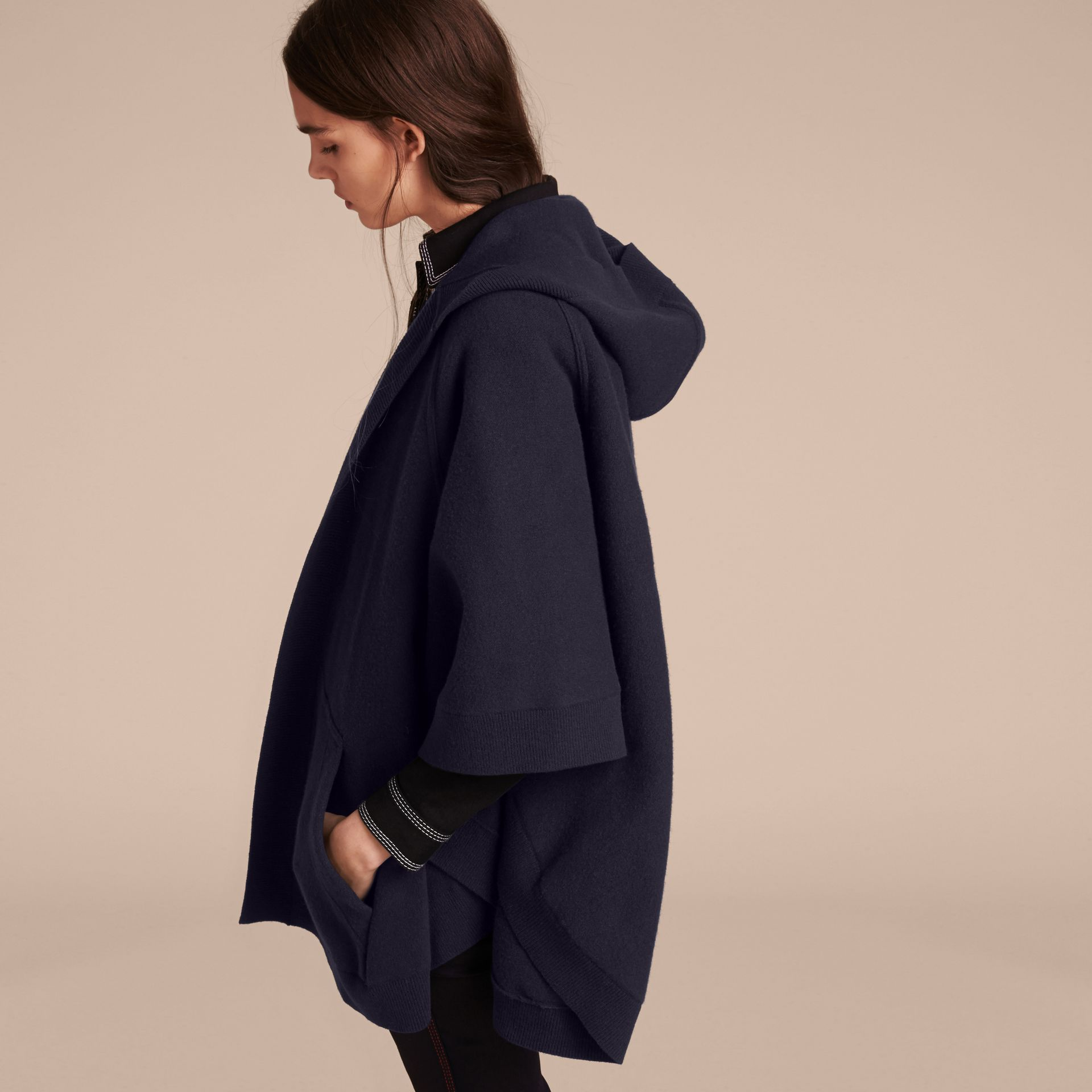 Wool Cashmere Blend Hooded Poncho in Navy/black - gallery image 3
