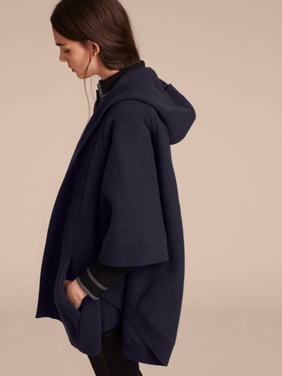 Wool Cashmere Blend Hooded Poncho in Navy/black - cell image 2