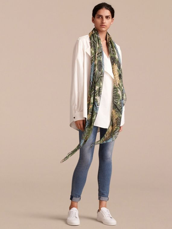 Beasts Print Lightweight Silk Scarf in Sage Green - Women | Burberry United Kingdom - cell image 2