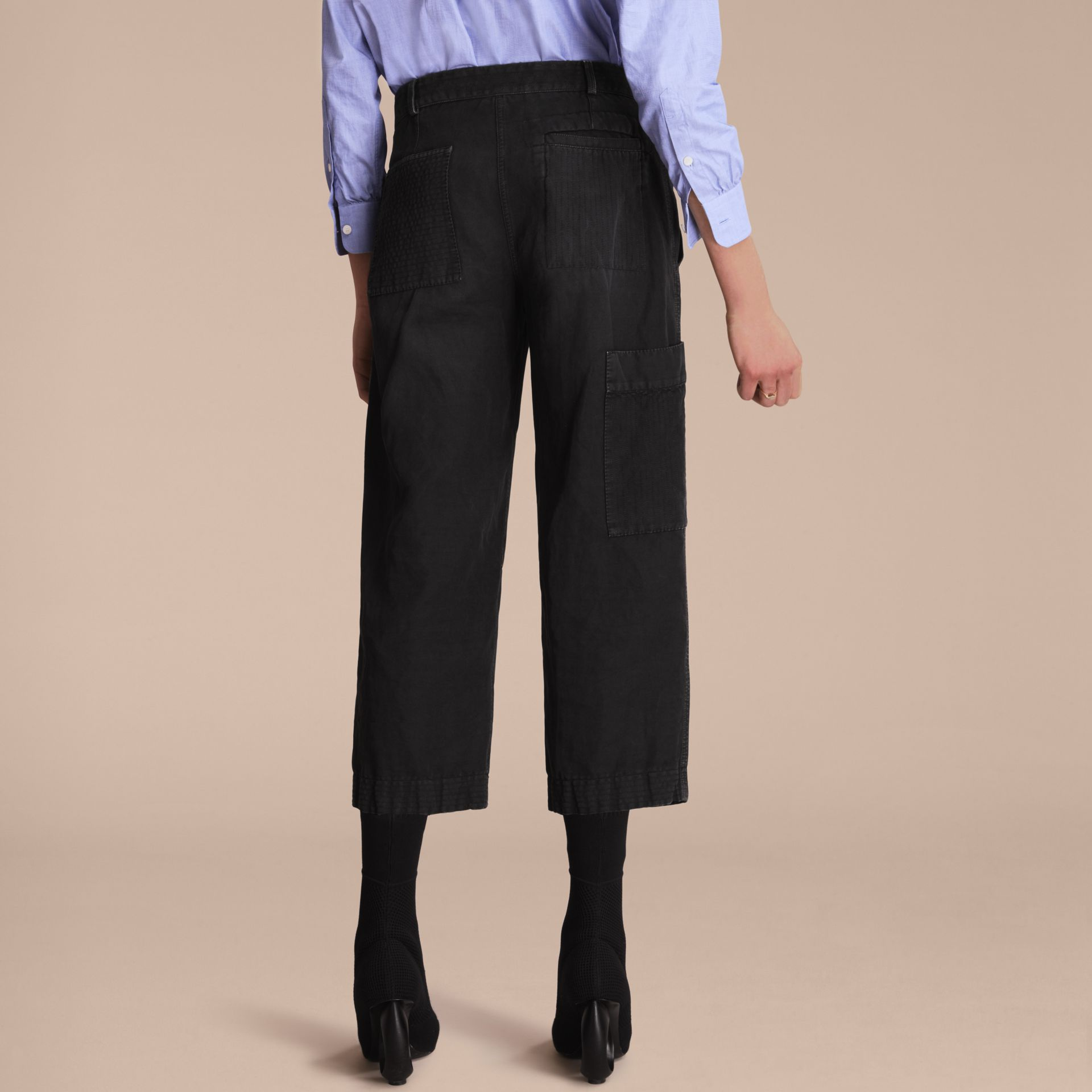 Ramie Cotton Cropped Workwear Trousers in Black - Women | Burberry - gallery image 3