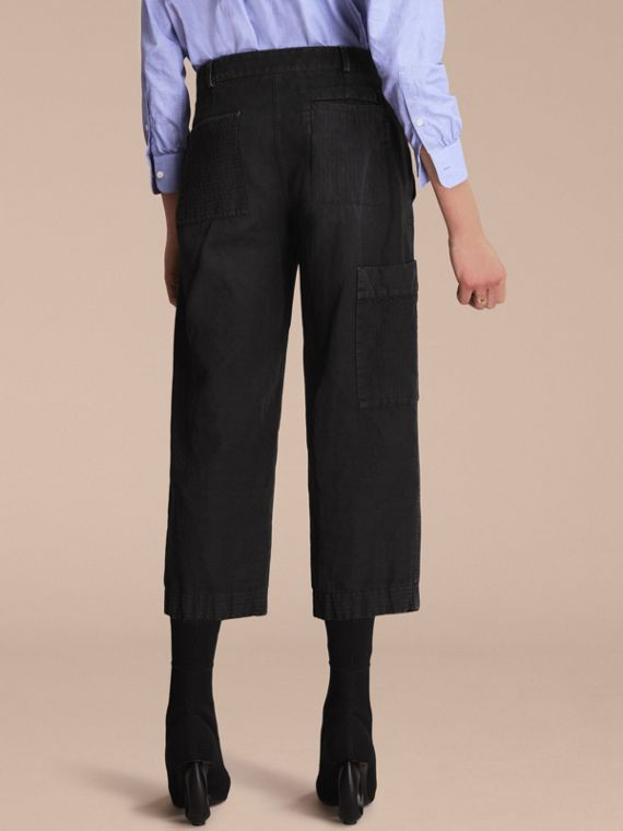 Ramie Cotton Cropped Workwear Trousers in Black - Women | Burberry - cell image 2