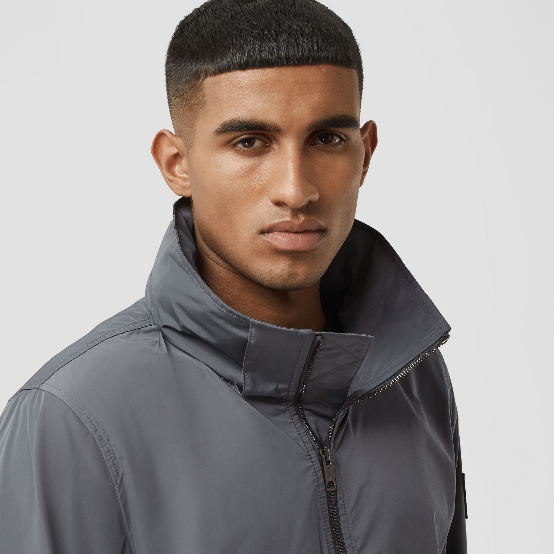 Packaway Hood Shape-memory Taffeta Jacket in Steel Grey - Men | Burberry Australia - gallery image 1