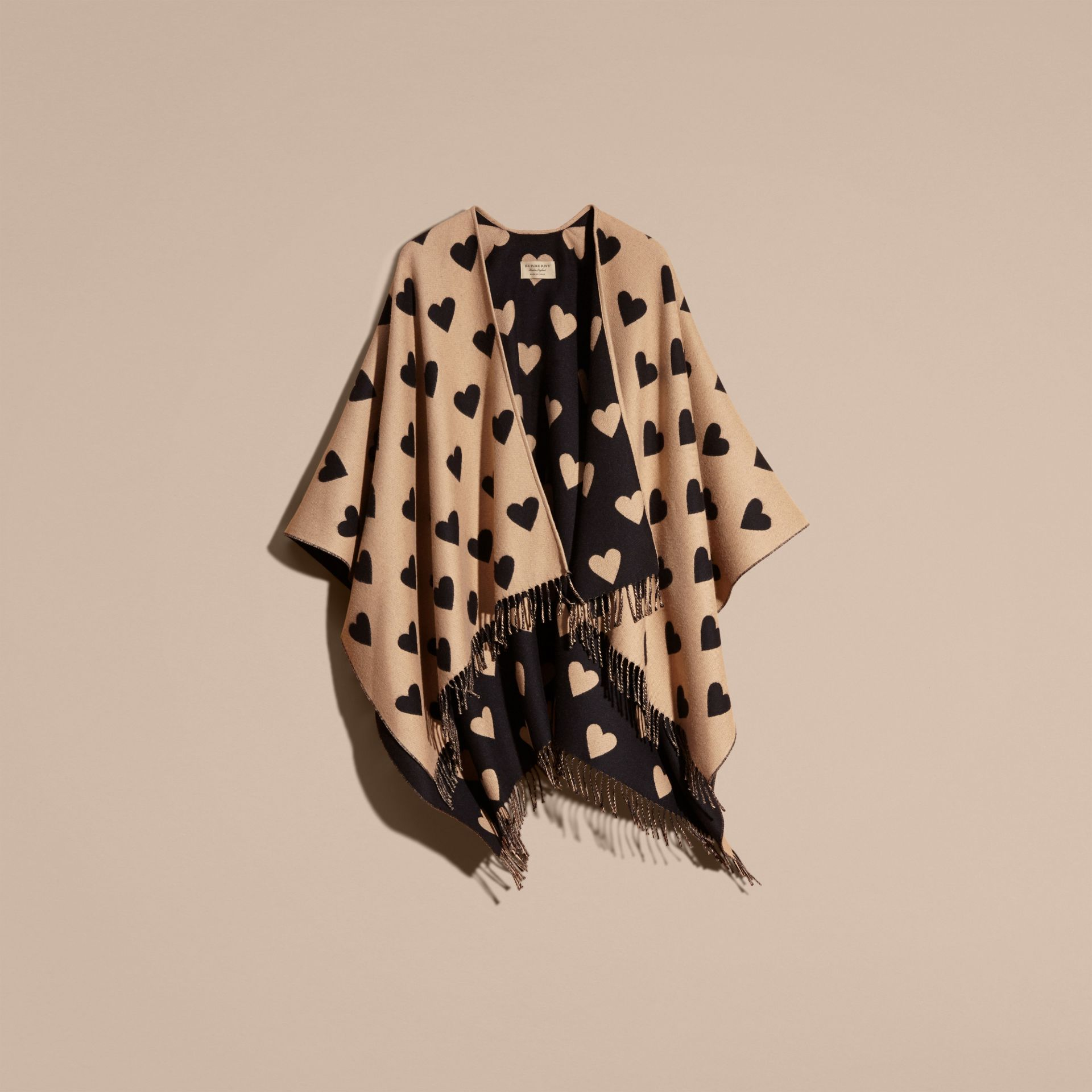 Heart Jacquard Merino Wool Poncho in Camel/black - gallery image 4