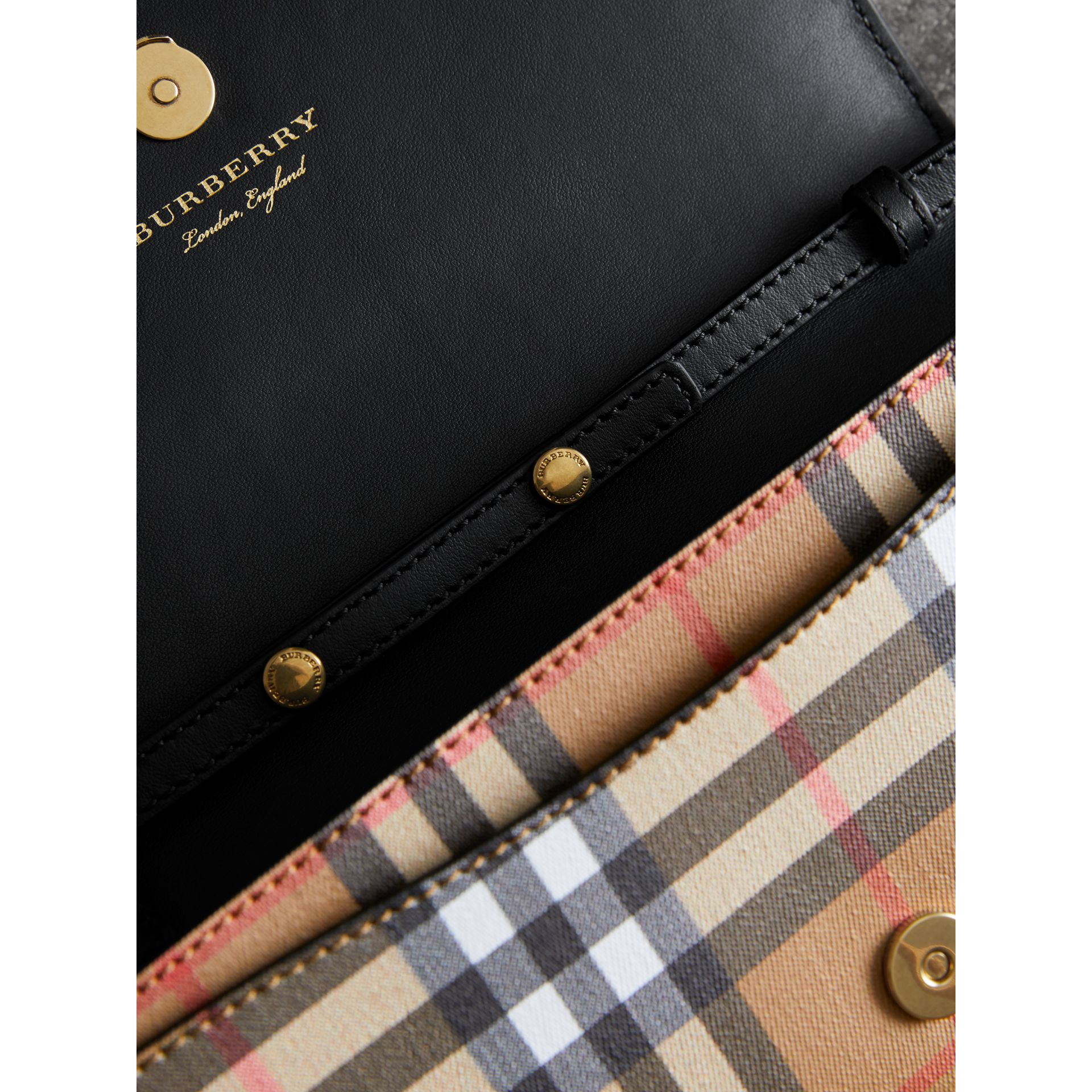 Detachable Strap Vintage Check Leather Wallet in Black - Women | Burberry - gallery image 5