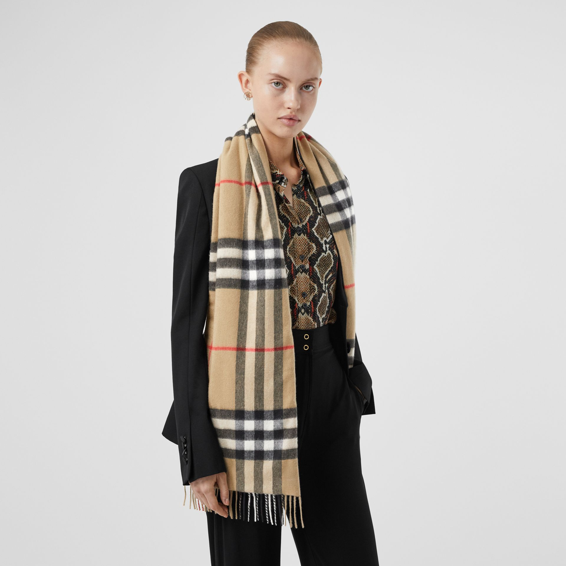 Check and Icon Stripe Cashmere Silk Puffer Scarf in Archive Beige | Burberry United Kingdom - gallery image 2