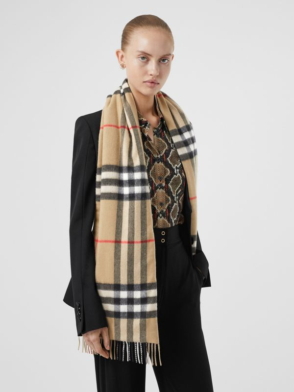 Check and Icon Stripe Cashmere Silk Puffer Scarf in Archive Beige | Burberry United Kingdom - cell image 2