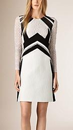 A-Line Patchwork Lace Cotton Silk Dress