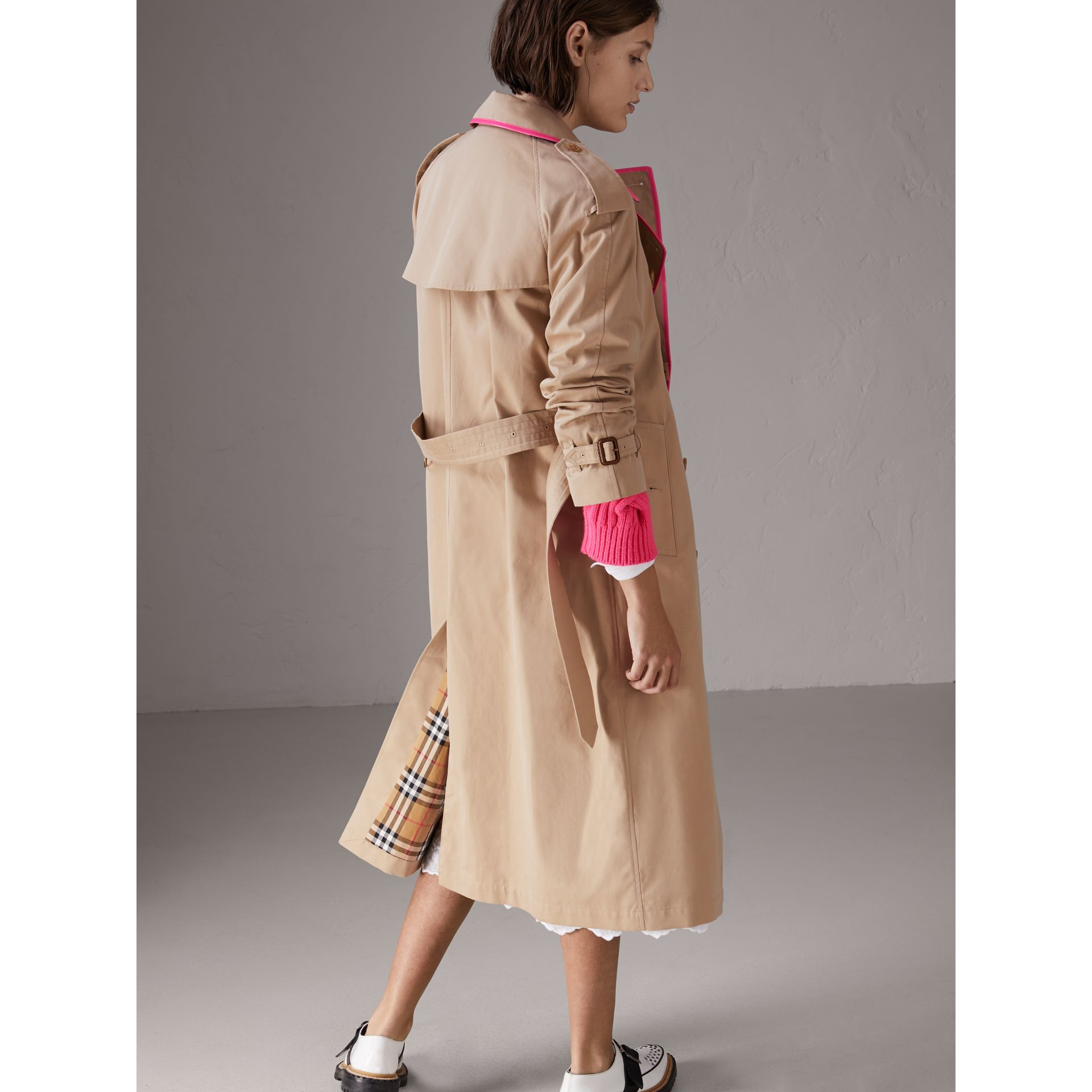 Tape Detail Cotton Gabardine Trench Coat in Honey - Women | Burberry Australia - gallery image 2