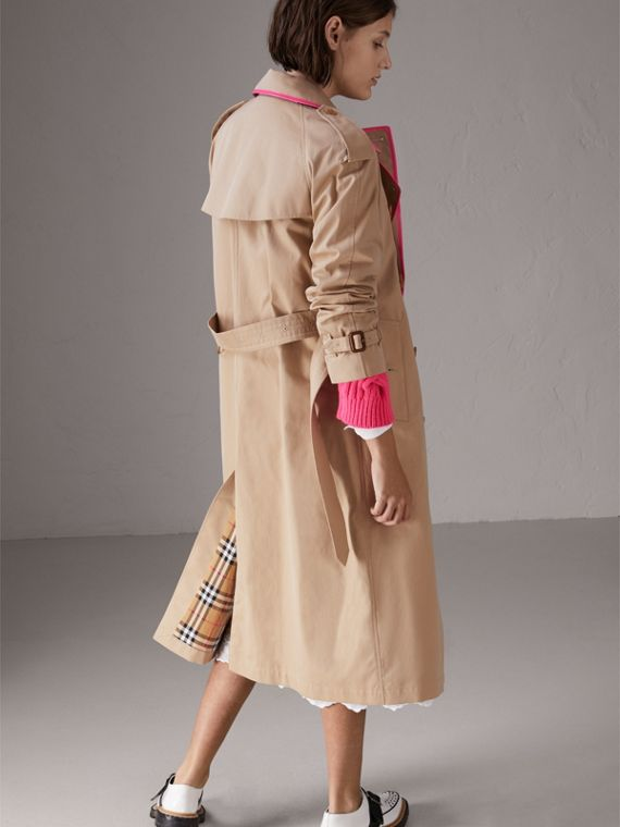 Tape Detail Cotton Gabardine Trench Coat in Honey - Women | Burberry Australia - cell image 2