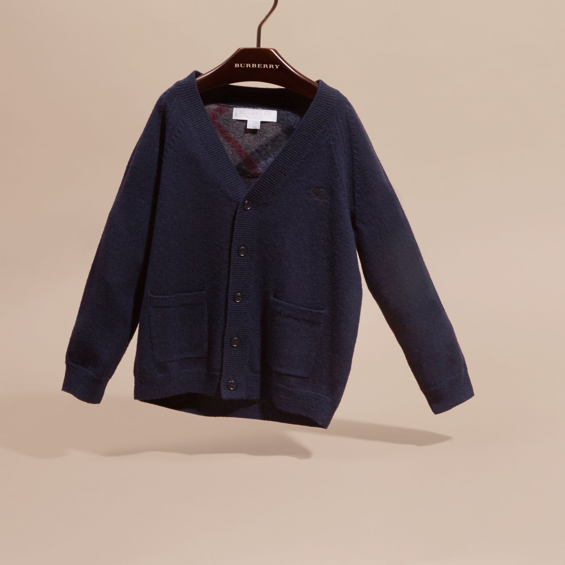 Check Detail Merino Wool Cardigan in Navy - Boy | Burberry - gallery image 3