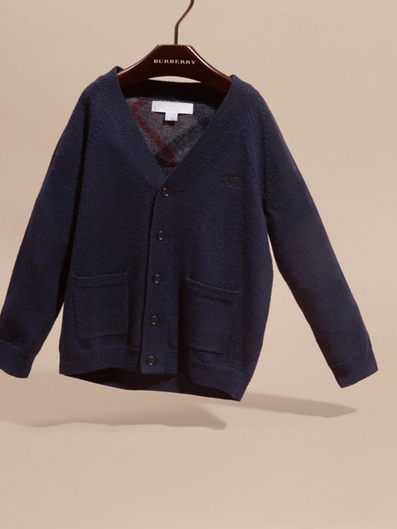 Check Detail Merino Wool Cardigan in Navy - Boy | Burberry United States - cell image 2
