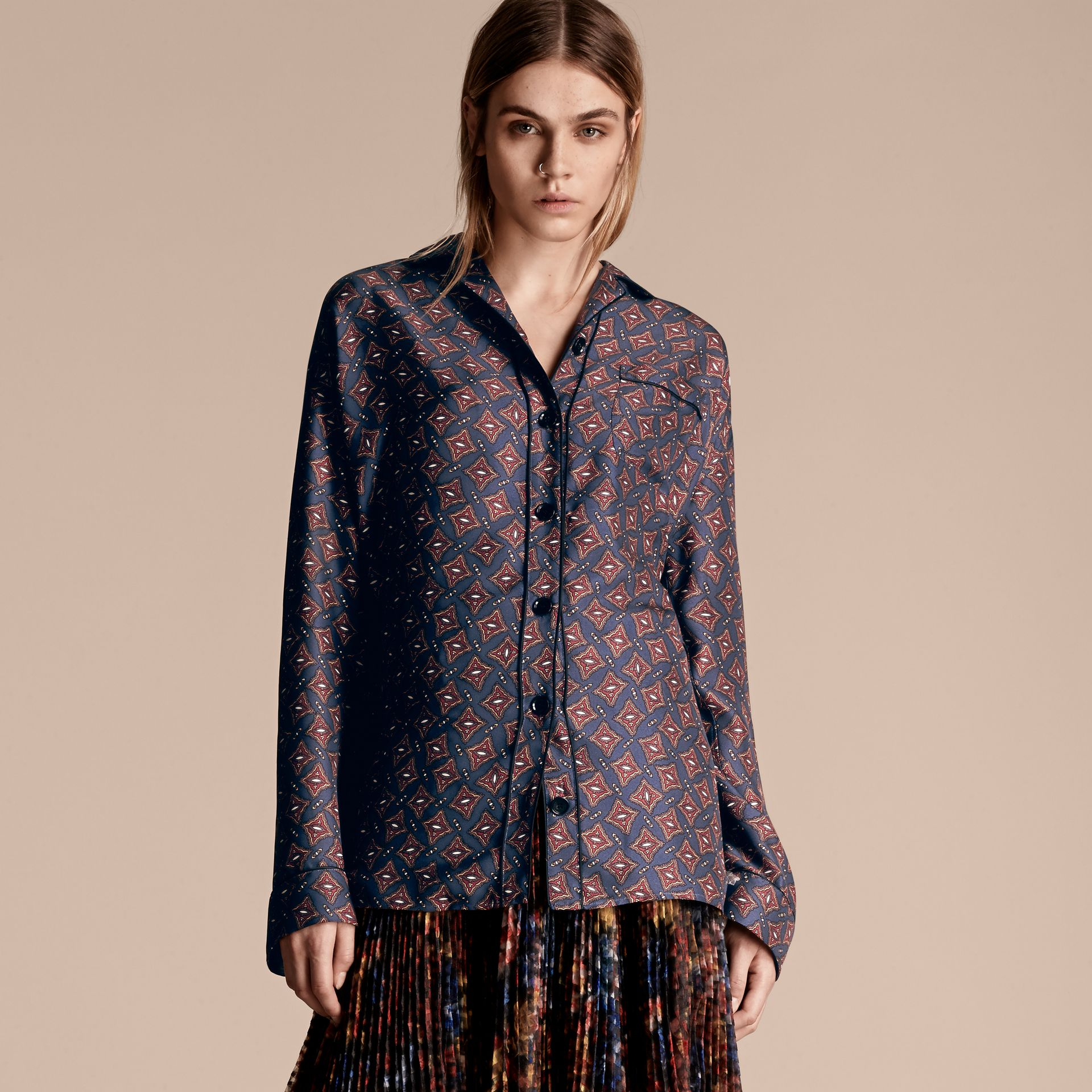 Navy Long-sleeved Geometric Print Silk Pyjama-style Shirt - gallery image 1