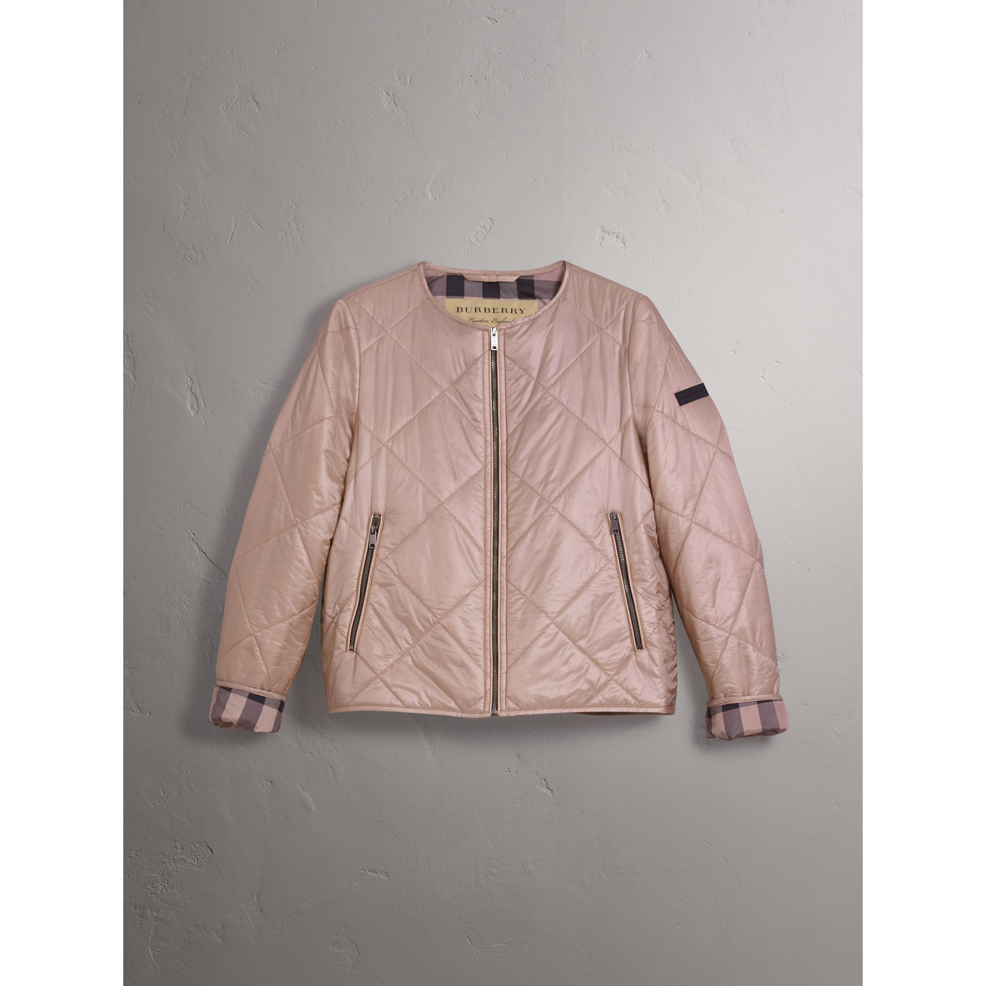 Collarless Diamond Quilted Lightweight Jacket in Nude - Women | Burberry - gallery image 3