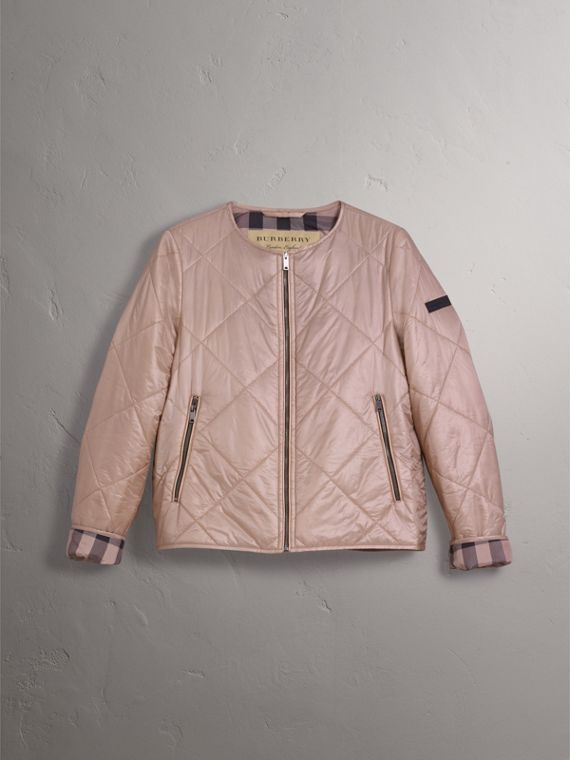 Collarless Diamond Quilted Lightweight Jacket in Nude - Women | Burberry - cell image 3