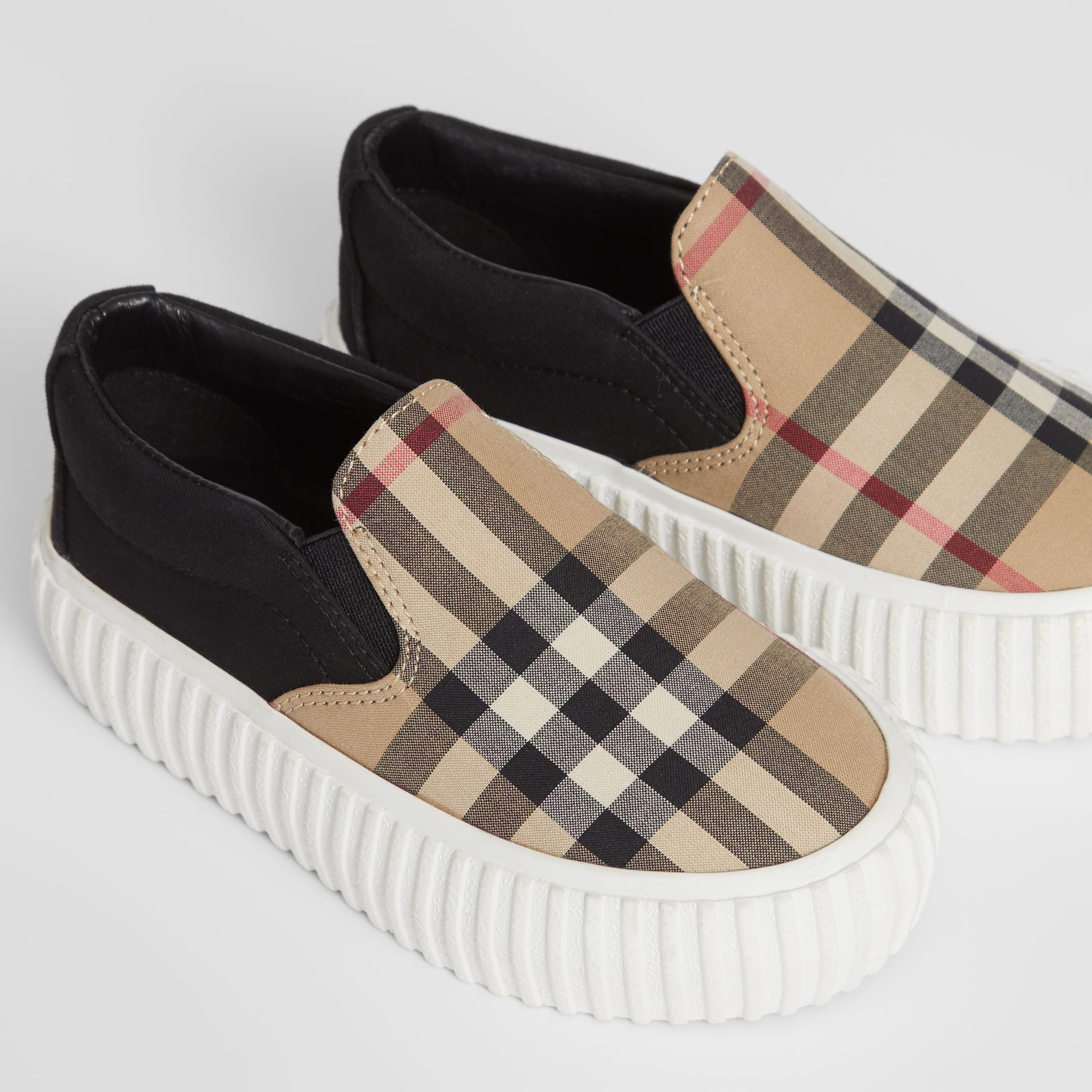 Vintage Check Detail Cotton Slip-on Sneakers in Archive Beige/black - Children | Burberry United Kingdom - gallery image 1