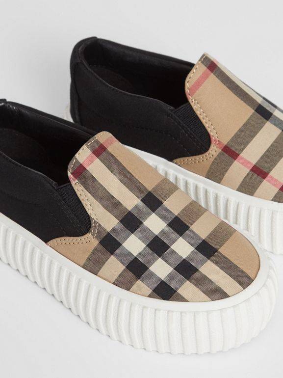 Vintage Check Detail Cotton Slip-on Sneakers in Archive Beige/black - Children | Burberry - cell image 1