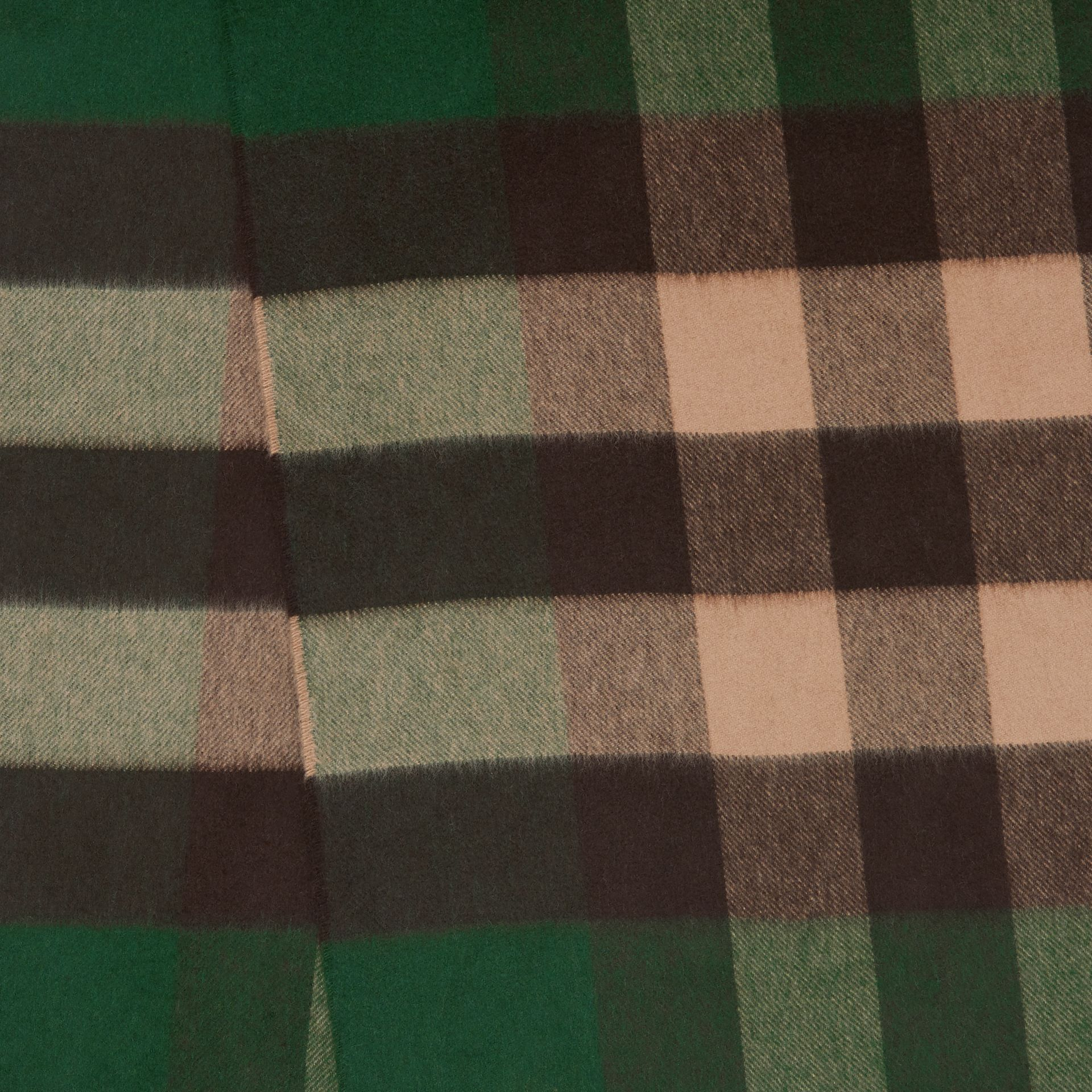 Check Cashmere Scarf in Dark Pine Green | Burberry United Kingdom - gallery image 1