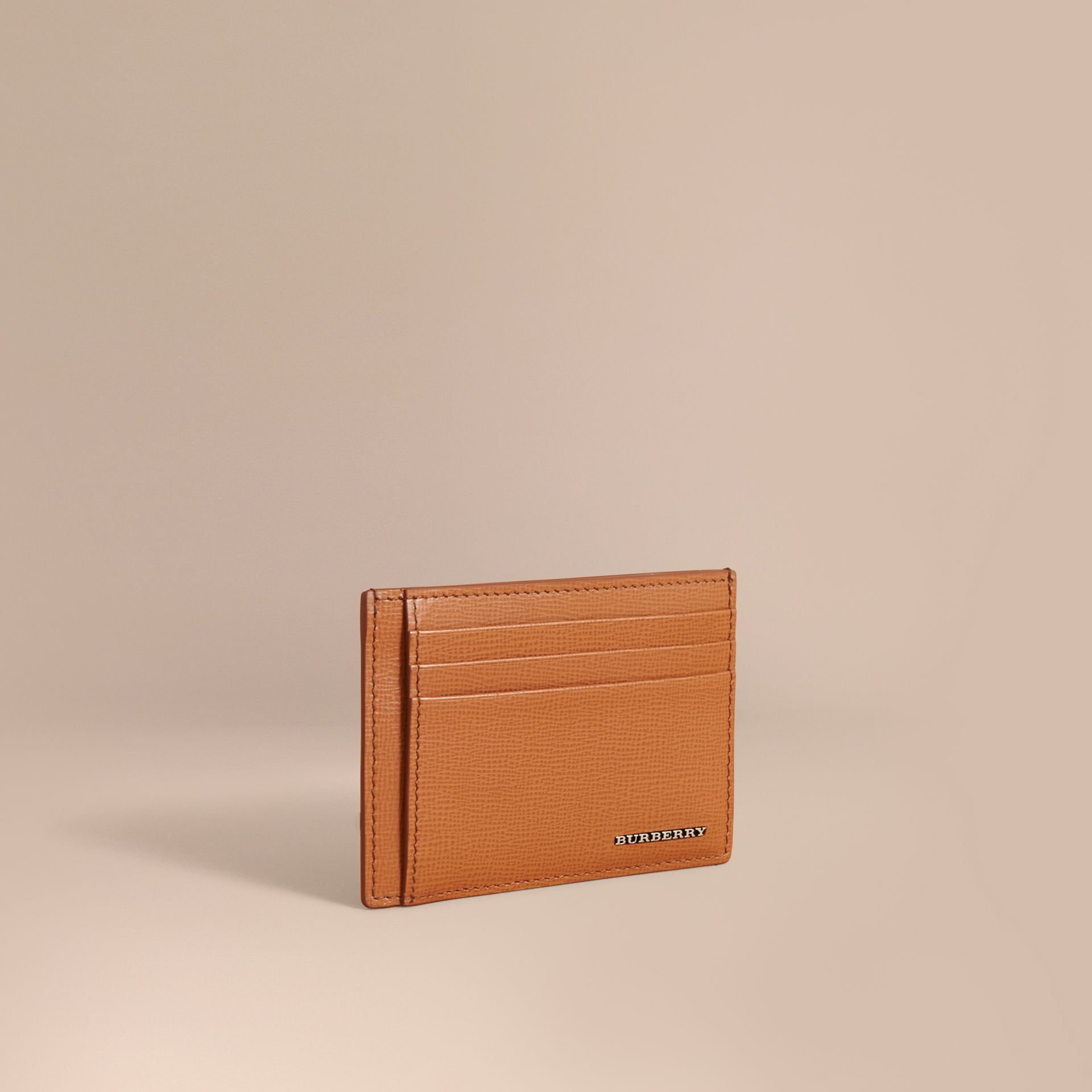 London Leather Money Clip Card Case in Tan - Men | Burberry - gallery image 1