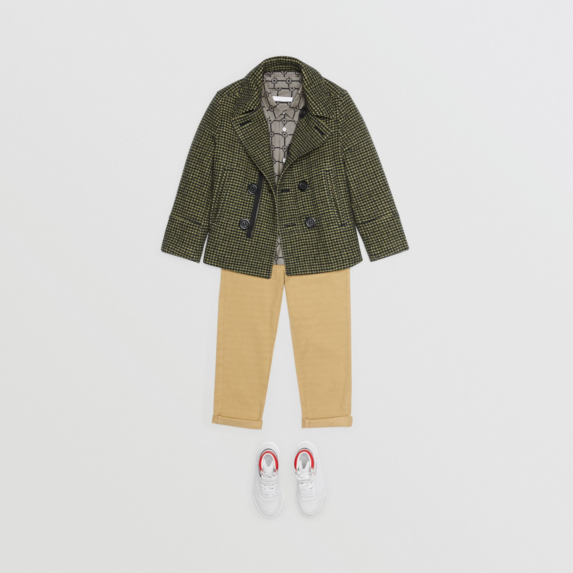 Check Wool Blend Tailored Coat in Grass Green - Children | Burberry - gallery image 2