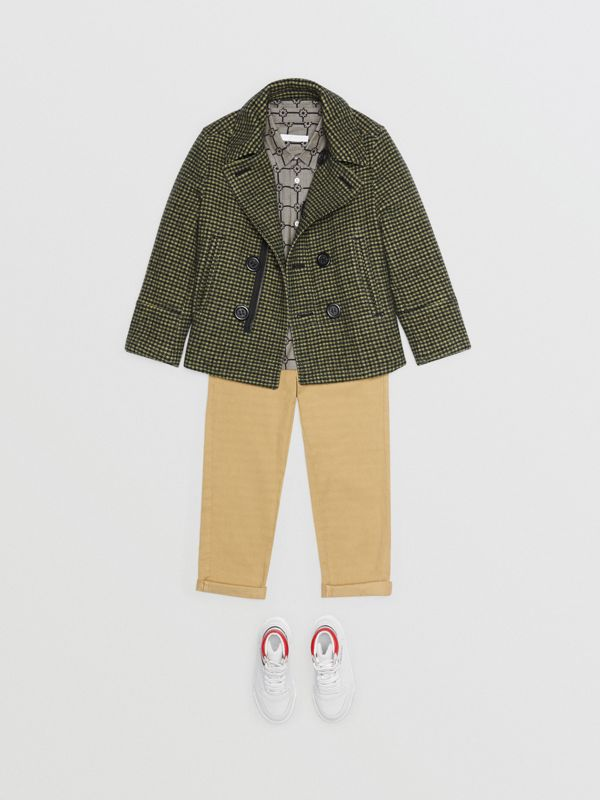 Check Wool Blend Tailored Coat in Grass Green - Children | Burberry - cell image 2