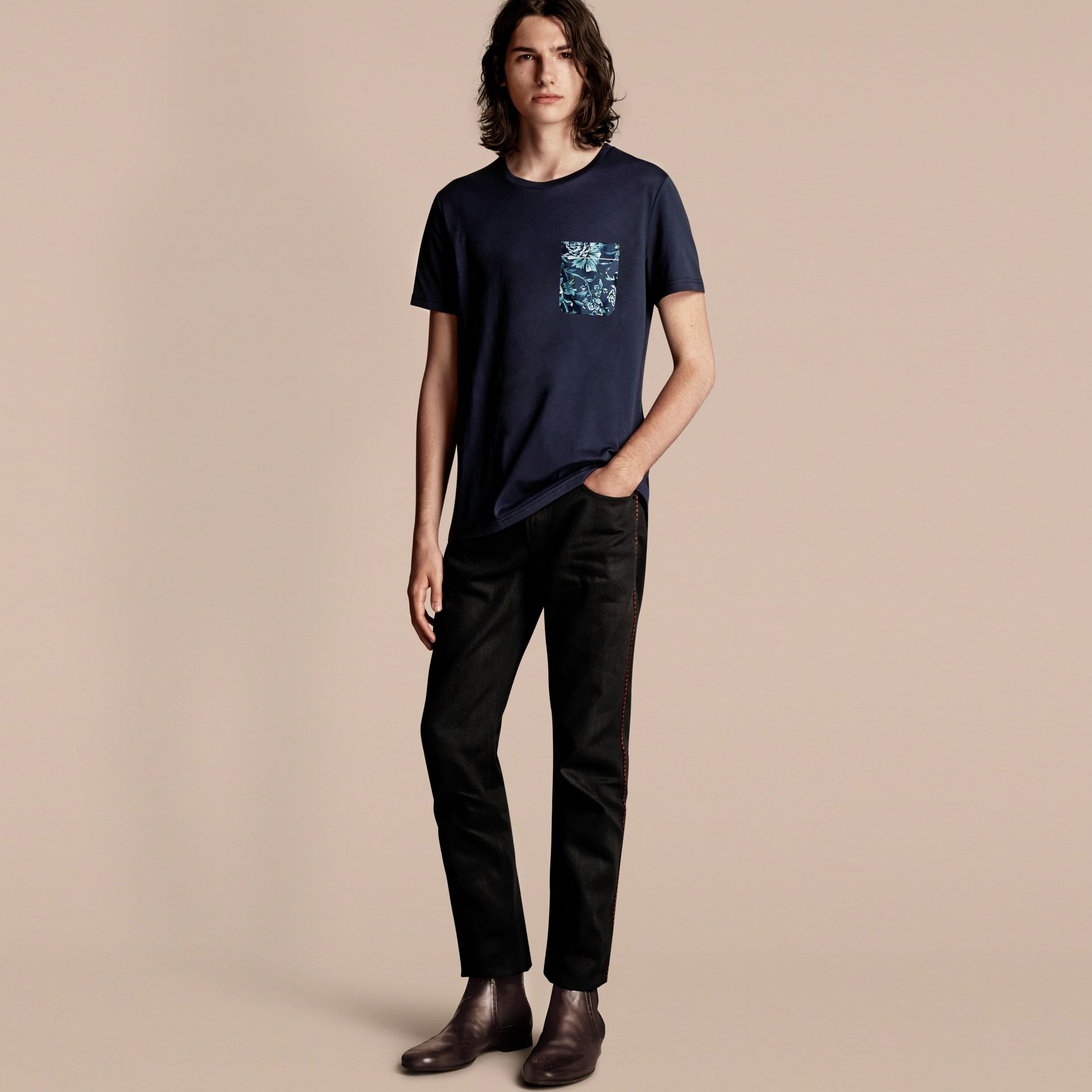 Navy Cotton T-shirt with Peony Rose Print Pocket - gallery image 1
