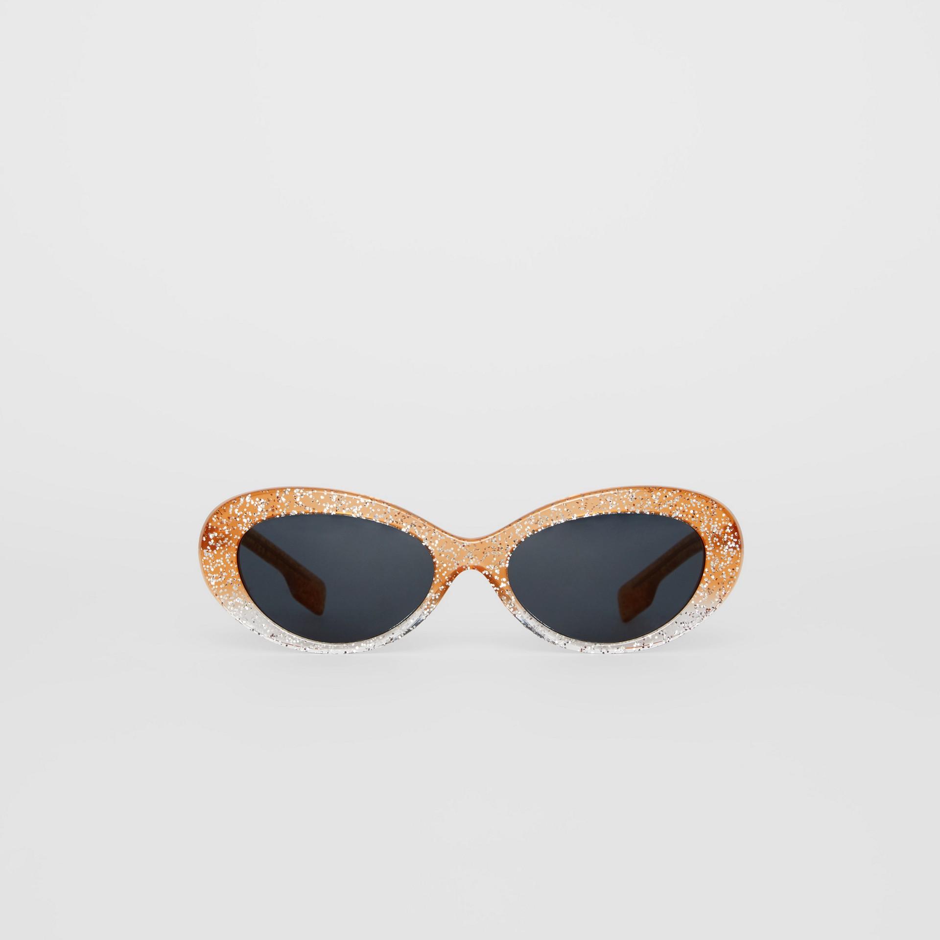 Óculos de sol com armação gatinho e detalhe de glitter (Laranja) - Mulheres | Burberry - galeria de imagens 0