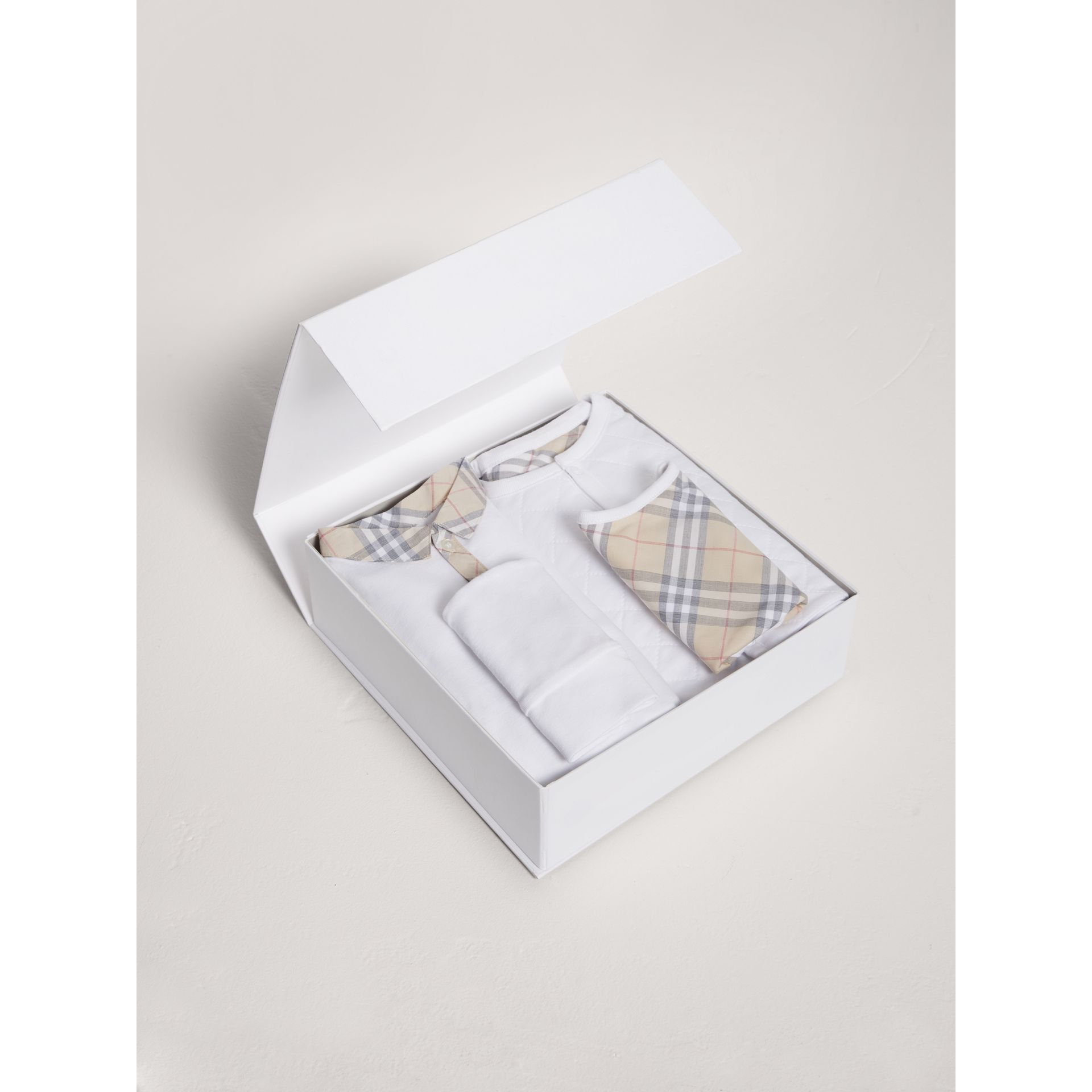 Cotton Four-piece Baby Gift Set in White - Boy | Burberry United Kingdom - gallery image 2