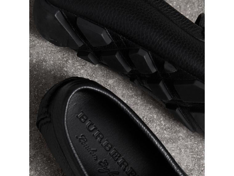Grainy Leather Loafers with Engraved Check Detail in Black - Men | Burberry - cell image 1
