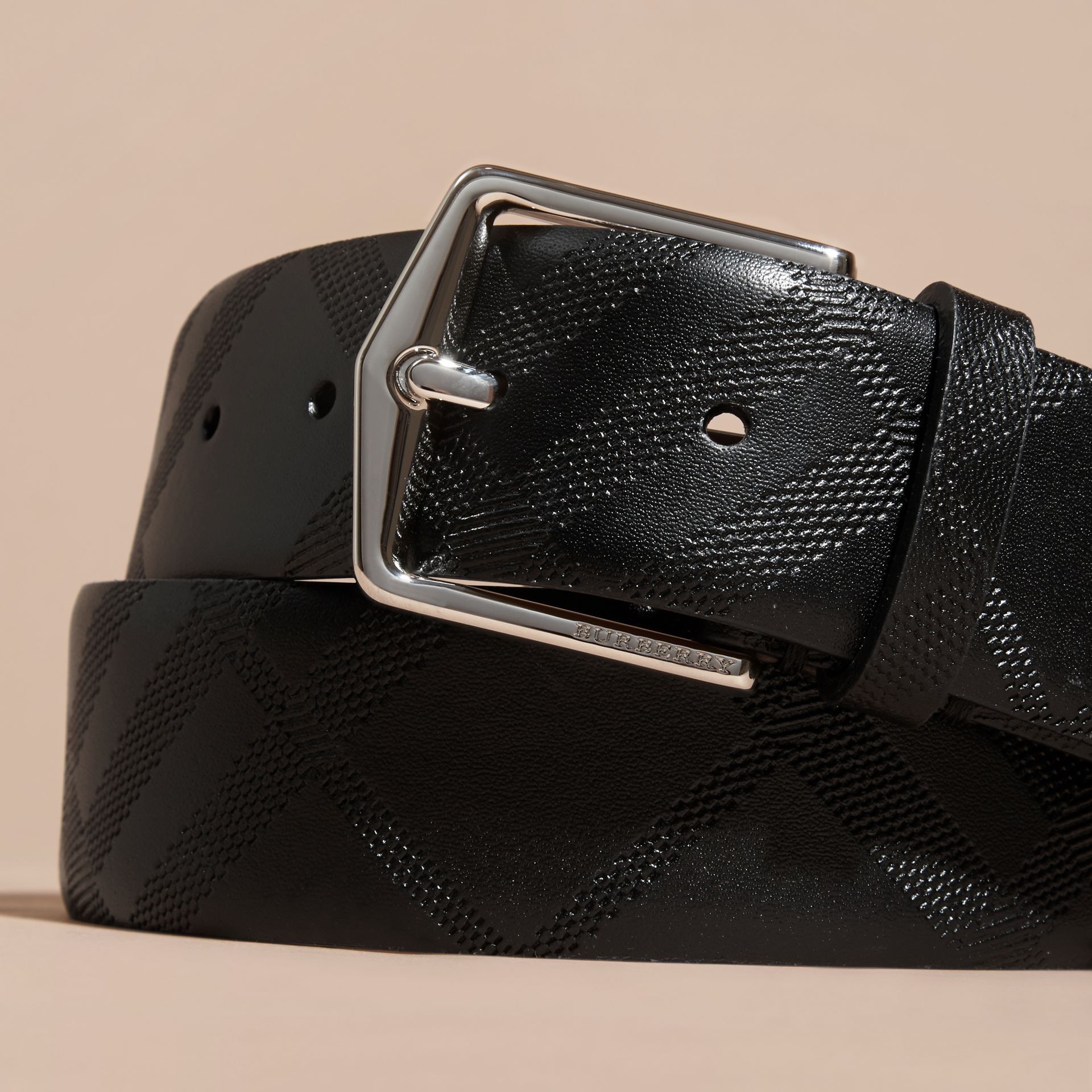 Black Leather Trim London Check Belt Black - gallery image 2