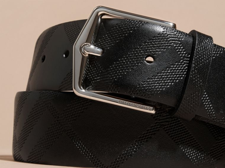 Black Leather Trim London Check Belt Black - cell image 1