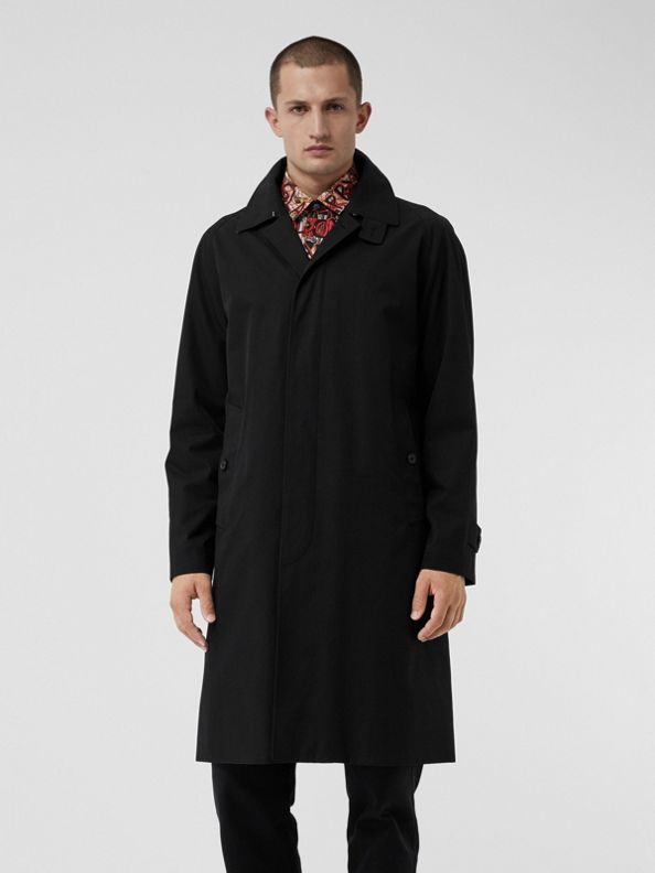 Car coat de gabardine tropical (Preto)