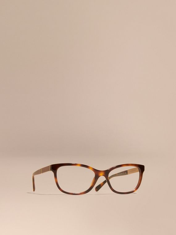 Check Detail Oval Optical Frames in Light Russet Brown