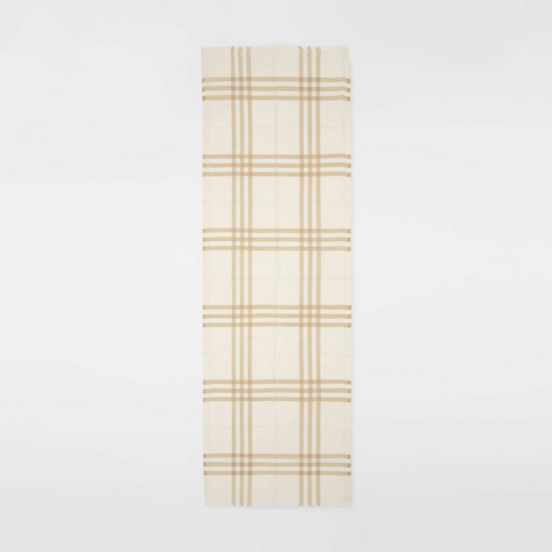 Lightweight Check Wool Silk Scarf in White/alabaster | Burberry - gallery image 5