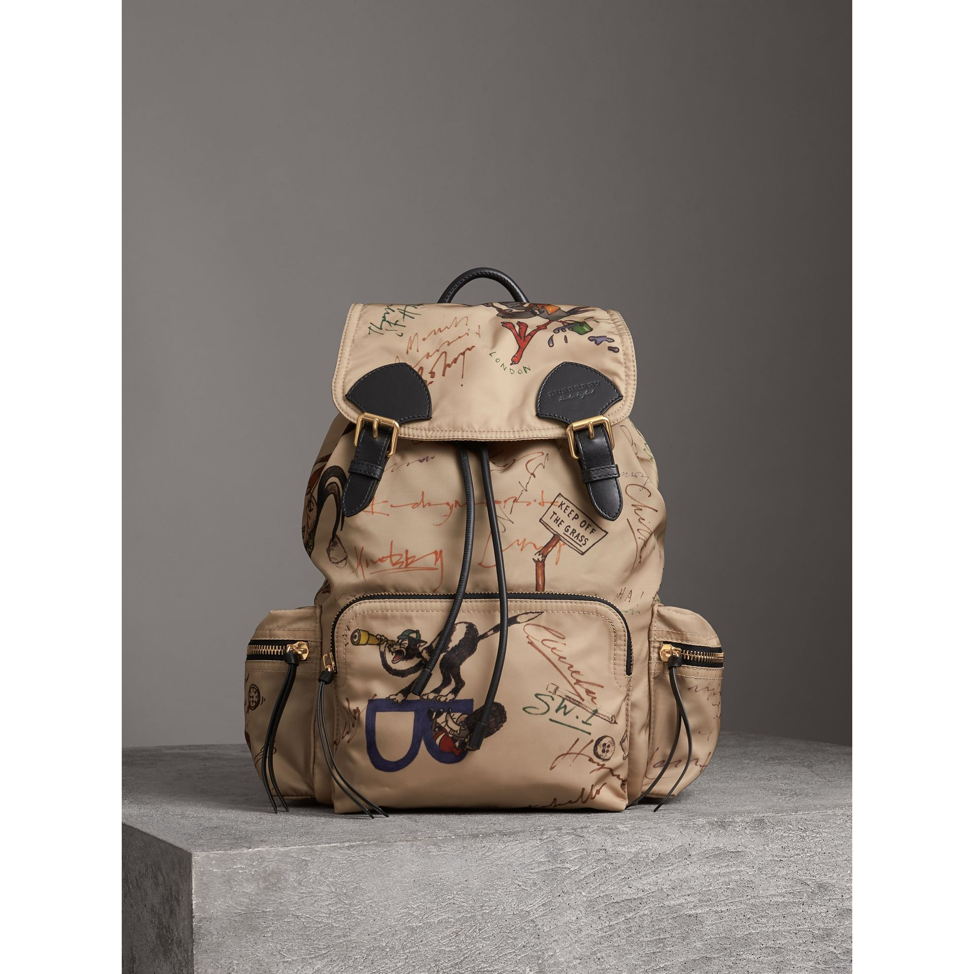 The Large Rucksack in Sketch Print Nylon in Honey | Burberry United Kingdom - gallery image 7