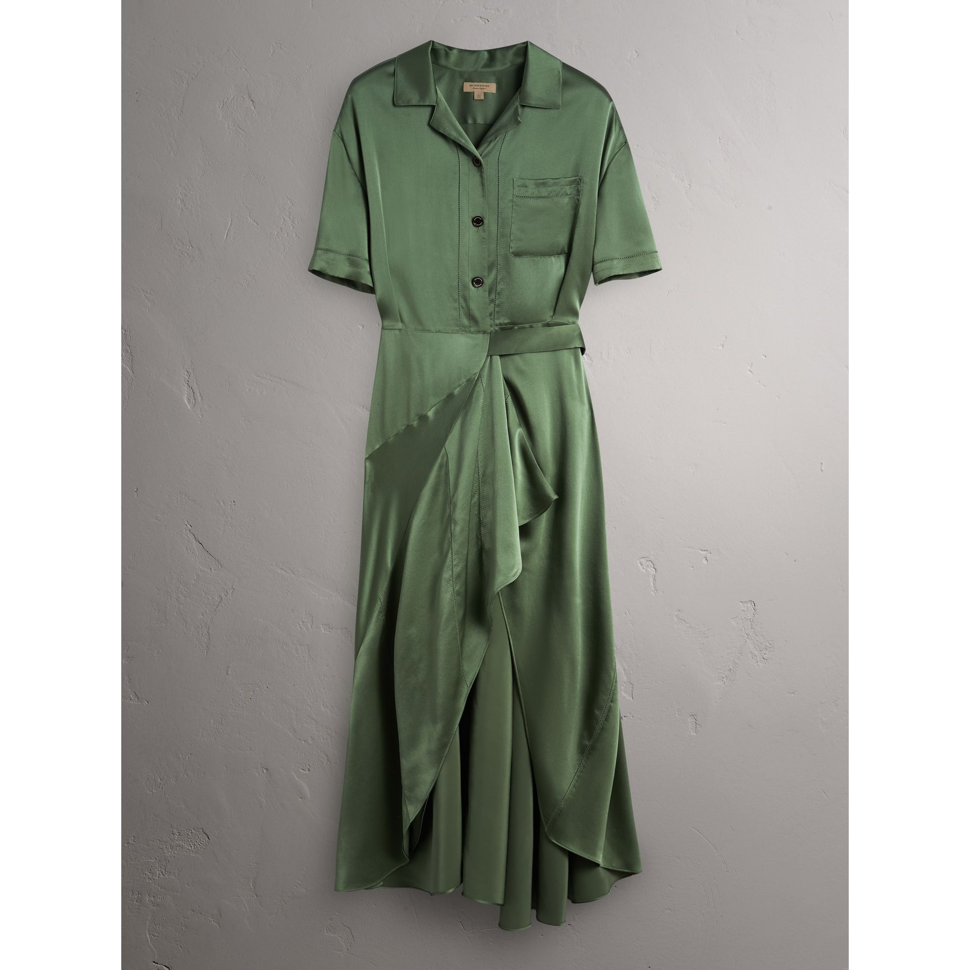 Washed Silk Satin Tie-waist Shirt Dress in Forest Green - Women | Burberry - gallery image 4